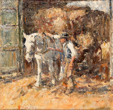 Harry Fidler, Farmhand leading a grey with a hay cart