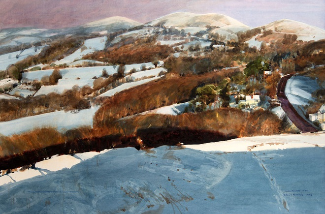 Malvern Hills, the Western Slopes under Snow - 1992