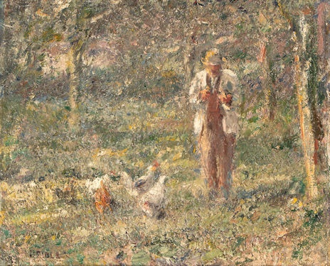 Countryman with chickens in an orchard
